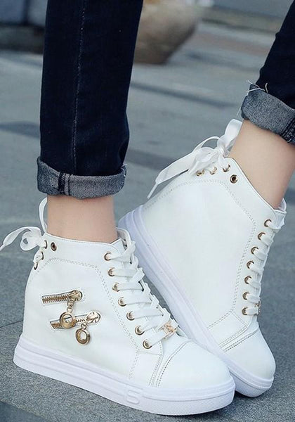 White Within The Higher Zipper Casual Shoes