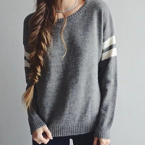 Women Casual Long Sleeve Pullover Knitted Loose Sweater