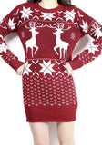 New Women Floral Christmas Deer Snowflake Cute Mini Sweater Dress