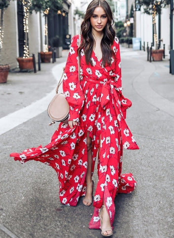 Fashion Floral Printed Long Sleeve Tie Waist V Neck Maxi Dress