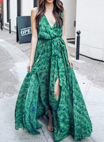 Fashion Sexy Floral Printed Sleeveless V Neck Chiffon Maxi Dress