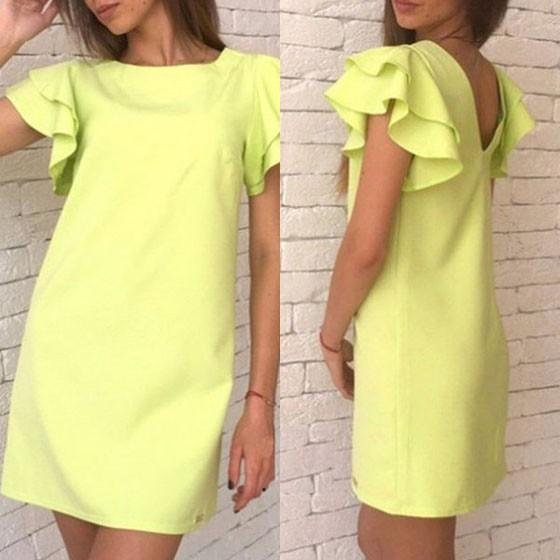 Yellow Carmine Plain Pleated Round Neck Casual Cotton Mini Dress