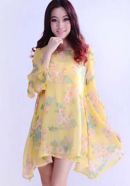 Yellow Floral Nine's Sleeve Loose Chiffon Mini Dress
