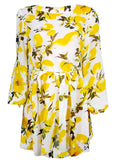 Yellow Floral Print Pleated Lantern Sleeve Long Sleeve Sweet Mini Dress