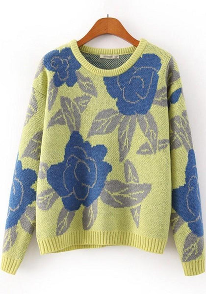 Yellow Flowers Print Long Sleeve Pullover