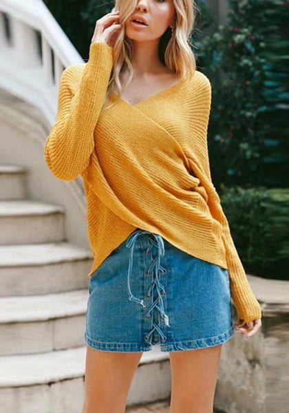 Yellow Irregular V-neck Casual Pullover Sweater