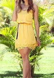 Yellow Patchwork Lace Scoop Neck Sweet Mini Dress