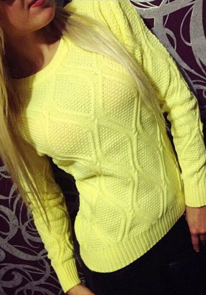 Yellow Round Neck Long Sleeve Casual Pullover Sweater