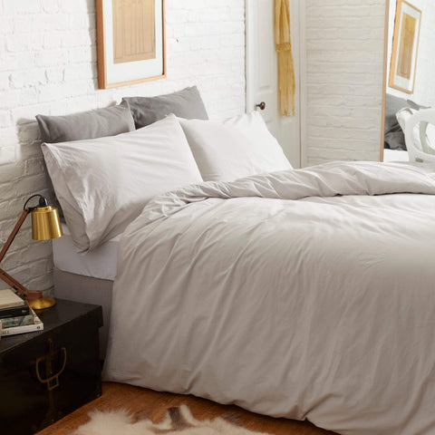 KOKO Washed Cotton Duvet Cover Set - Fog Grey