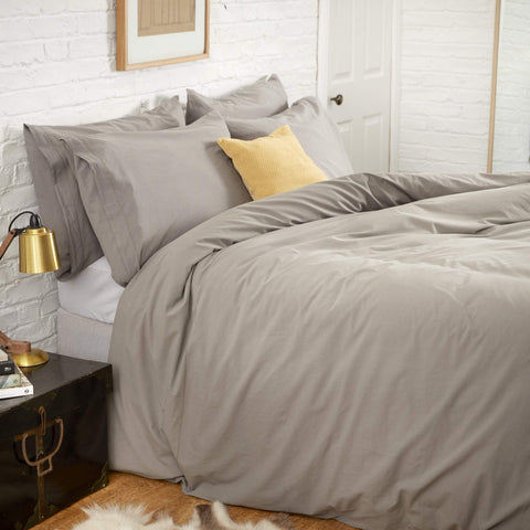 KOKO Washed Cotton Duvet Cover Set - Stone