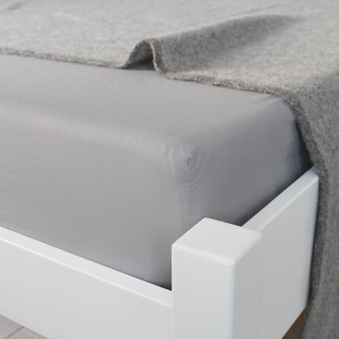 KOKO Washed Cotton Fitted Sheet Fog Grey Corner View
