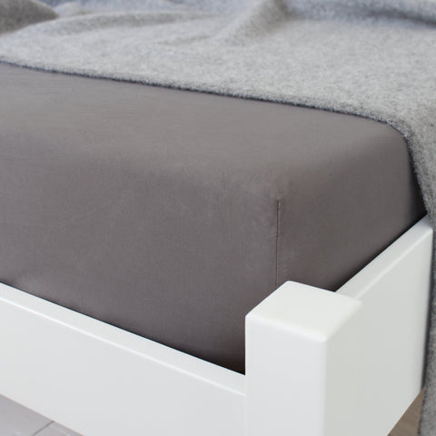 KOKO Washed Cotton Fitted Sheet Stone Corner View