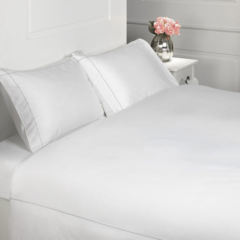 PICO Luxury Cotton Duvet Cover Set White with Navy Stitching