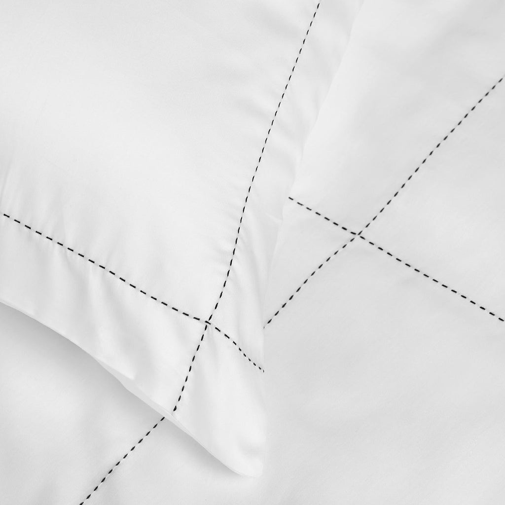 PICO Luxury Cotton Pillowcase White with Navy Stitching