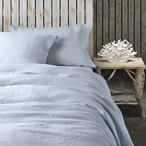 REMS Pure Linen Duvet Set Cloudy Blue with Bedside Table