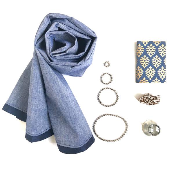 Cotton scarf - Blue silk trim