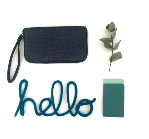 Cotton Wallet/Clutch - Denim with Blue dots