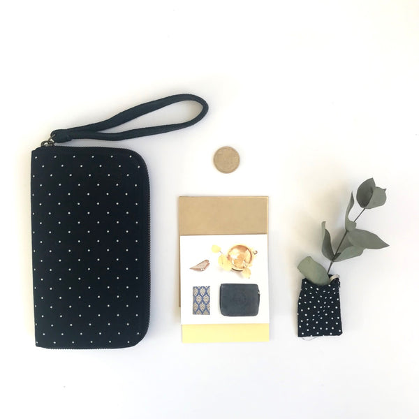 Cotton Wallet/Clutch - Navy with white dots