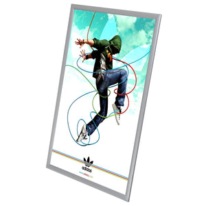 Brushed silver SnapeZo® snap frame poster size 20X30 - 1 inch profile