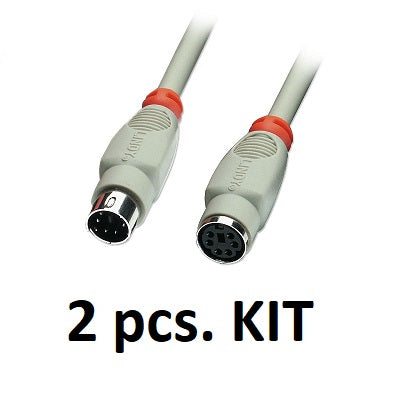 Kit 2x Lindy 33462 - PS/2 Keyboard/Mouse Extension Cable, 3m