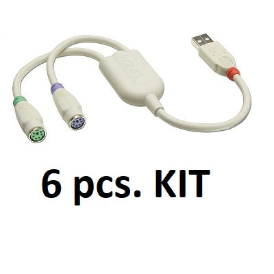 Kit 6x Lindy 42866 - USB to PS/2 Converter Cable