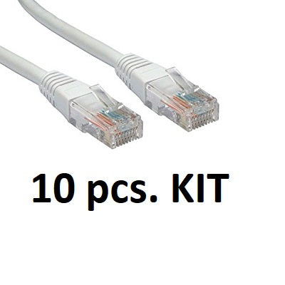 Kit 10x Lindy 44920 - Cat.5e U/UTP Gigabit Network Cable, Grey, 0.5cm