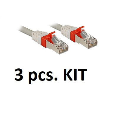 Kit 3x Lindy 45352 - CAT6a S/FTP LS0H Snagless Gigabit Network Cable, Grey, 1m