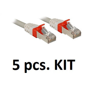 Kit 5x Lindy 45353 - CAT6a S/FTP LS0H Snagless Gigabit Network Cable, Grey, 2m