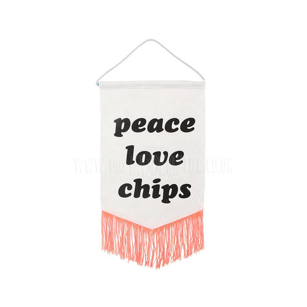 Banner . Felt Print . Peace Love Chips / Off White