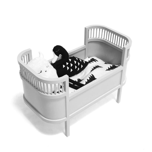 Toy . Retro Dolls Bed / Small Crib - Grey