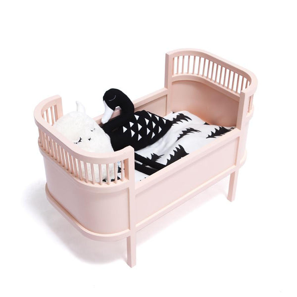 Toy . Retro Dolls Bed / Small Crib - Rose Pink