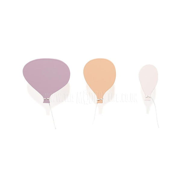 Wall Hook . Wooden Hot Air Balloons - Pink
