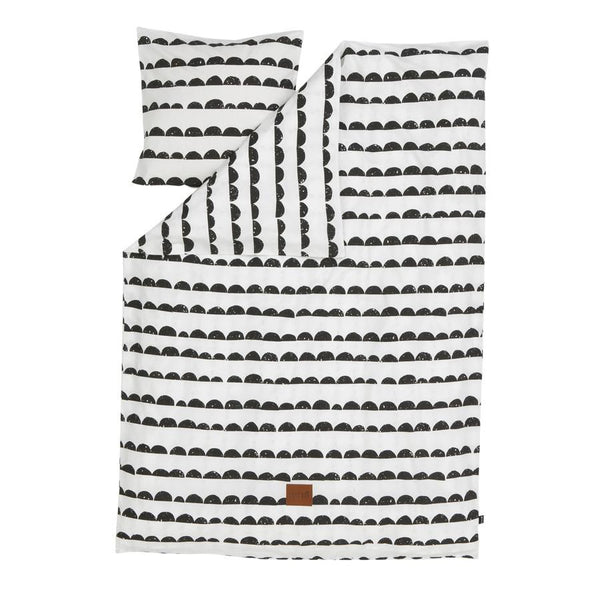 Bedding Set . Organic Cotton . Half Moon / Black & White - Junior