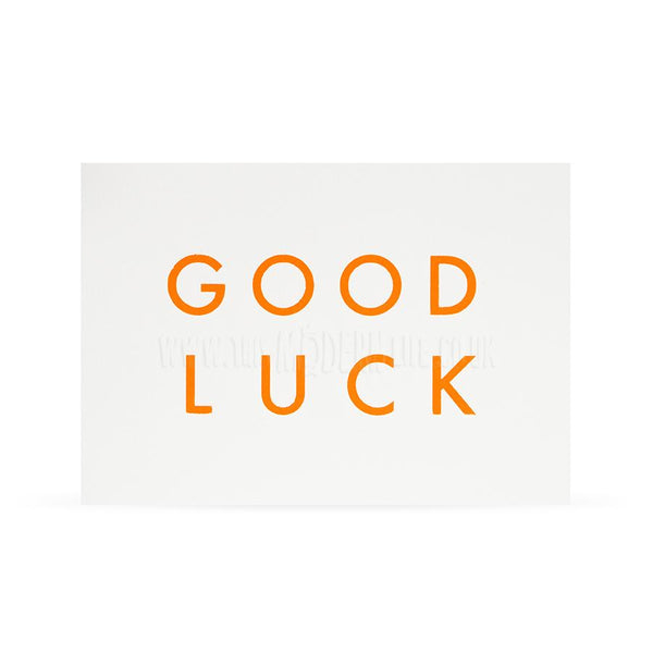 Card . Good Luck - Neon Typography