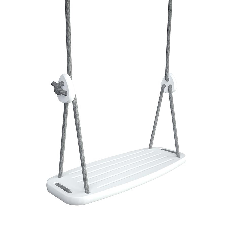 Classic Swing . White Birch Seat - Grey Ropes