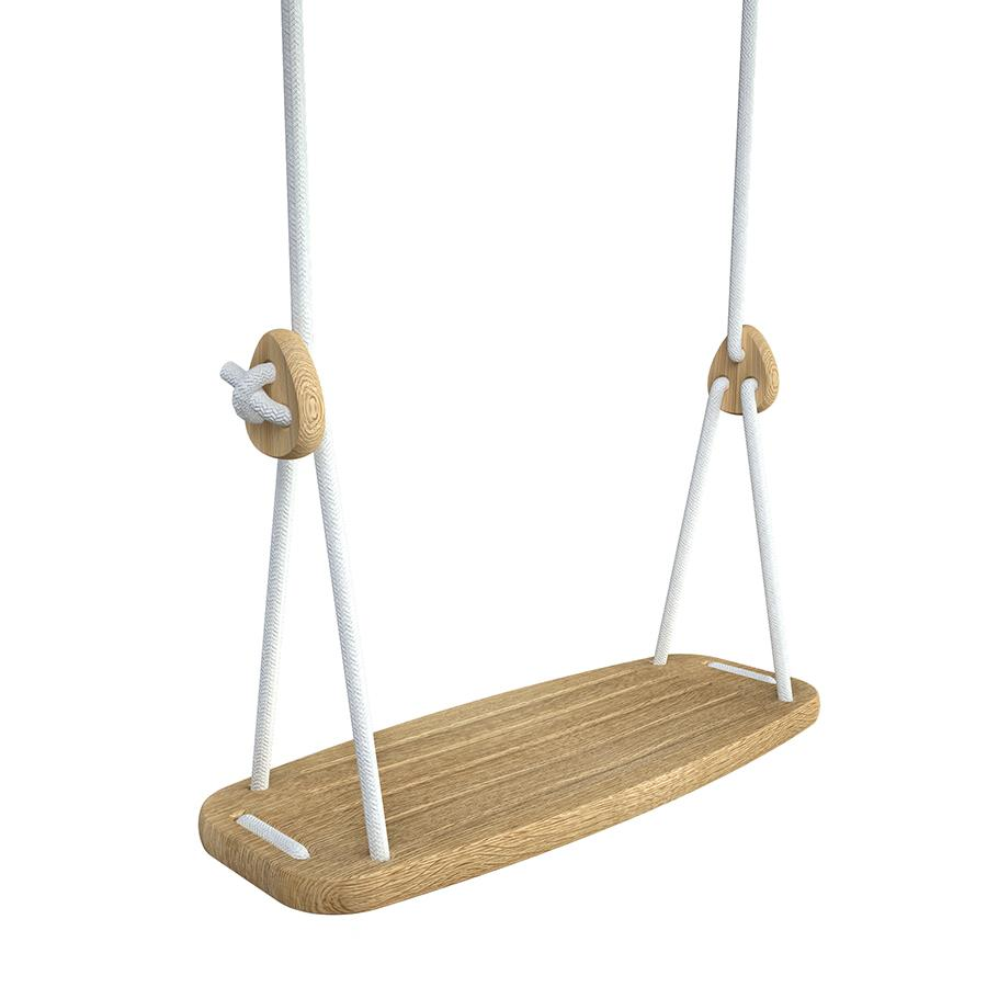 Classic Swing . Oak Seat - White Ropes