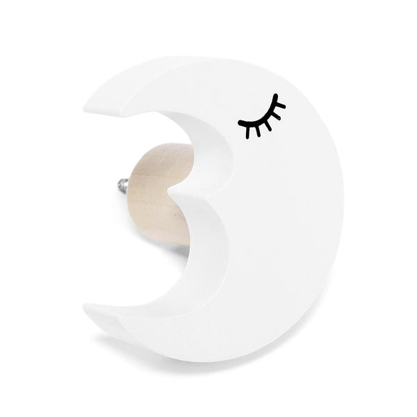 Wall Hook . Wooden / Kawaii Moon - White
