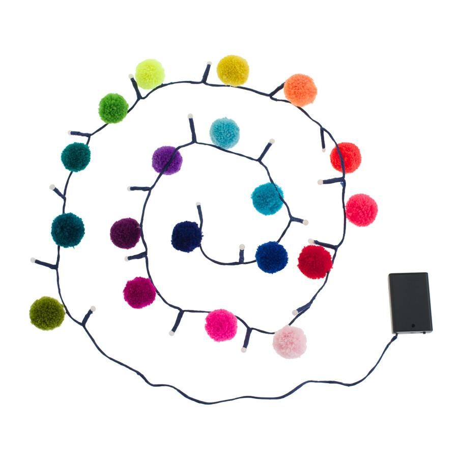 Light String Garland . PomPom - Rainbow