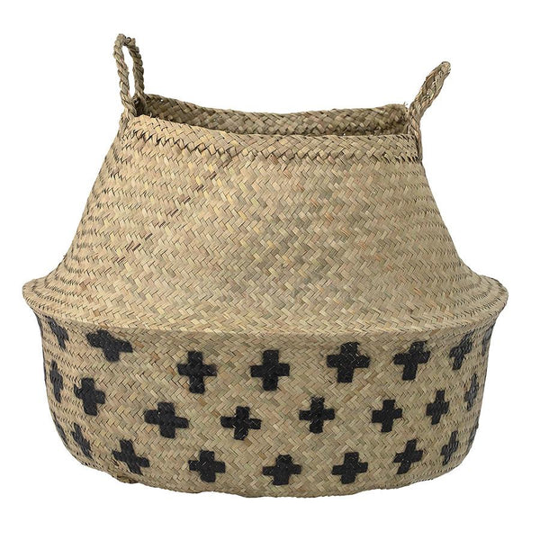 Storage . Belly Basket / Natural - Black Crosses