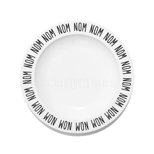 Children's Plate . Nom Nom - Black