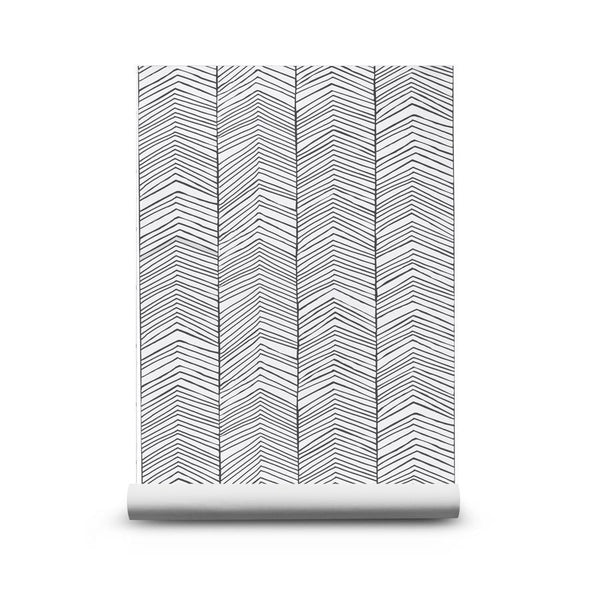 Wallpaper . Herringbone - Black / Grey