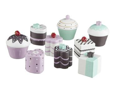 Toy . Wooden Toy Cake Set - 9 pieces / Pastel Colours