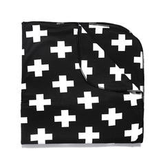 Blanket . Baby - Cross / White On Black