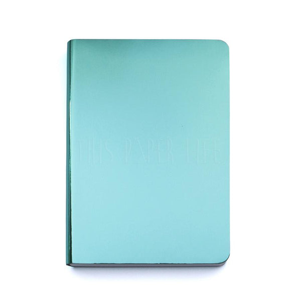 Notebook . Small Dotted Journal - Pearl / Turquoise