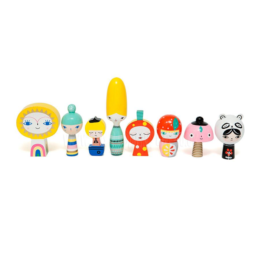 Toy . Wooden Dolls / Mr Sun & Friends