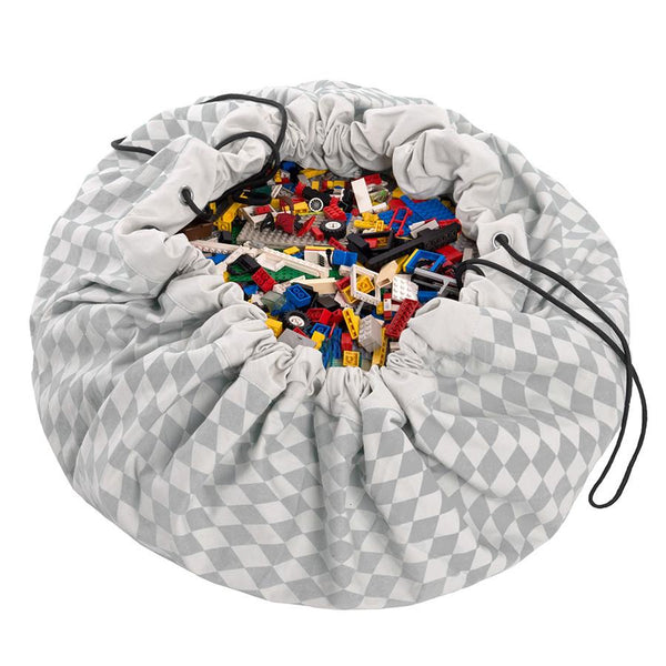 Storage . Toy Bag / Play Mat - Grey Harlequin