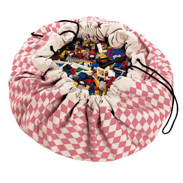 Storage . Toy Bag / Play Mat - Pink Harlequin