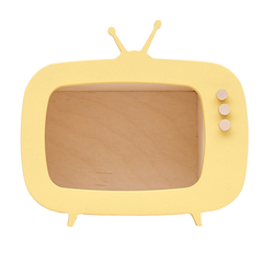 Toy/Storage . Wooden Teevee - Mini/Yellow