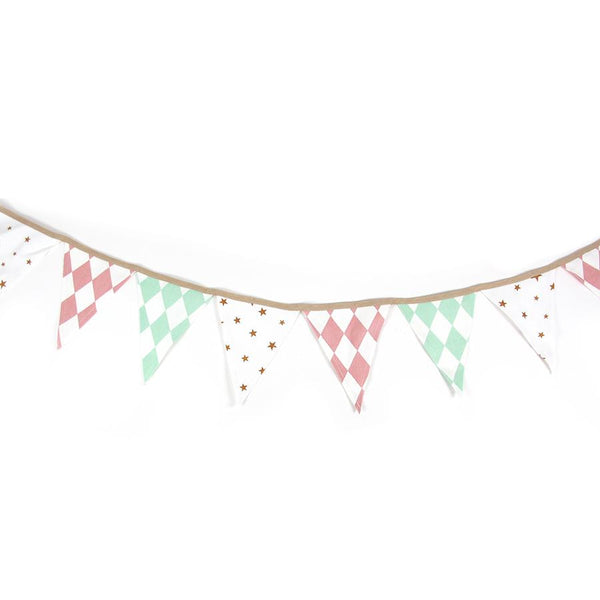 Garland . Rio - Diamonds and Stars / Green & Pink