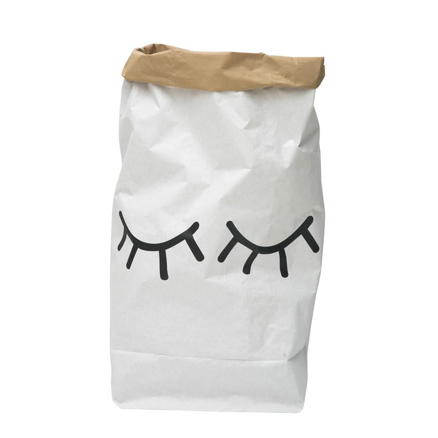 Storage . Reusable Paper Sack - Large / Closed Eyes